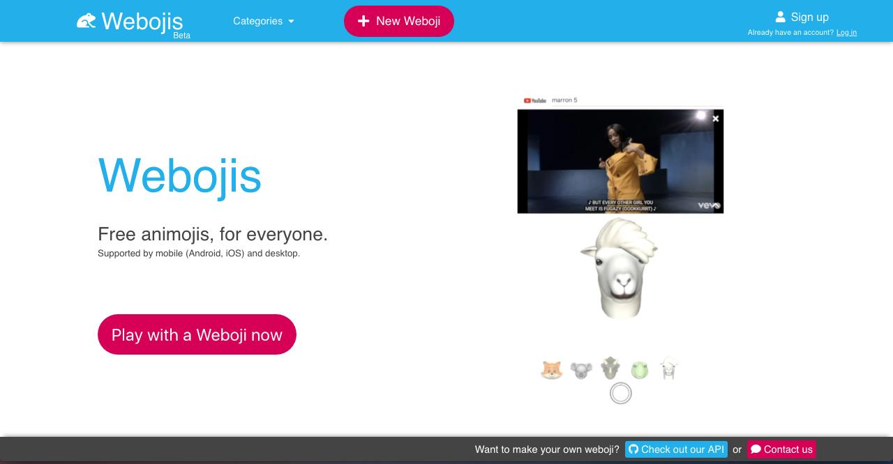 Record animojis-like video clips on Webojis com